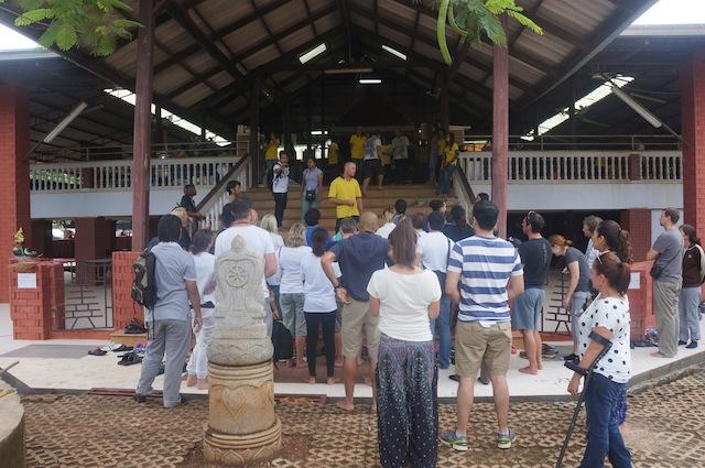 "Tourist prepare for their ""morning program"""