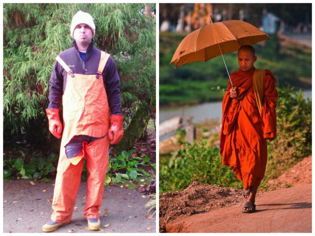 Christmas Tree Sales Associate or monk? I can't tell the difference. Both are dashing.