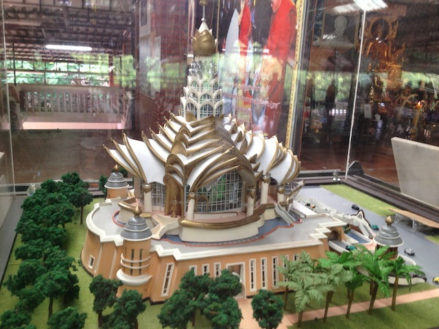 A model of Tiger Temple's new project displayed in the temple's Sala
