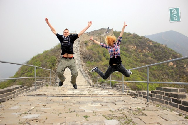 Great Wall of China Jump of joy. 'Yes we are happy together and do not have to venture out into the horrible world of dating like the rest of you'