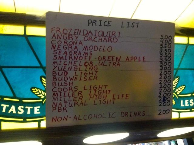 Santa's pub price list. No, it is not 1995.
