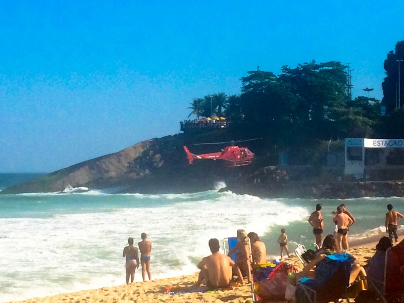 Helicopter rescue. The waves/break is crazy on the beach. And quite dangerous. Brazilian Baywatch is legit.